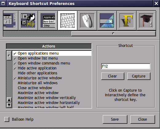 configuring shortcuts in WPrefs